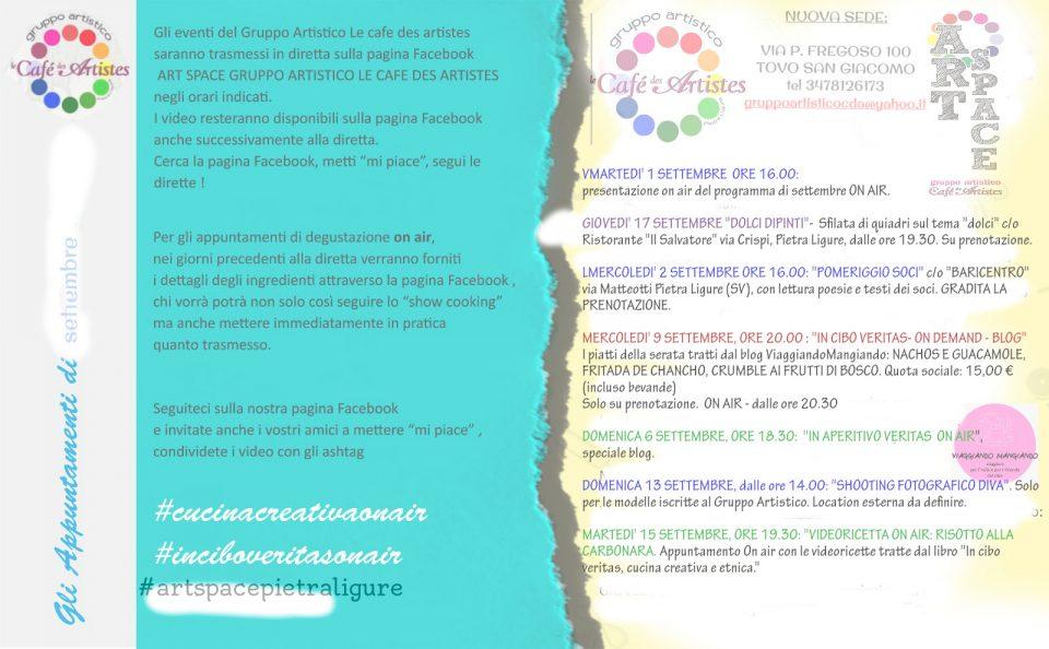 Eventi settembre Gruppo Artistico Le cafe des artistes